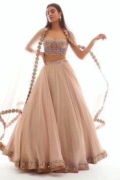 Buy Embellished Organza Lehenga Set by Vvani by Vani Vats at Aza Fashions Indian Fashion Dresses, Indian Gowns Dresses, Dress Indian Style, Indian Designer Outfits, Indian Designers, Designer Punjabi Suits, Designer Dresses, Fashion Outfits, Indian Party Wear