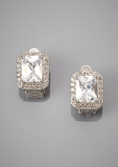CZ BY KENNETH JAY LANE Pave Trim Stud Earrings
