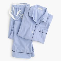 """Petite vintage pajama set ($95) - item no. E3195. Color: Hydrangea. Size: Petite XXS. Designed in crisp men's shirting cotton w/ an easy fit. Long sleeves; elastic waistband w/ drawstring on pant. 29"""" inseam. Top hits at hip. Machine wash. Online only."""