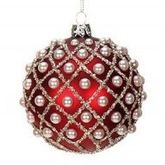 Red w Pearl Harlequin Glass Christmas Ornament by Mark Roberts Felt Christmas Decorations, Beaded Christmas Ornaments, Felt Ornaments, Glass Ornaments, Christmas Crafts, Christmas Things, Homemade Christmas, Christmas Ideas, Mark Roberts