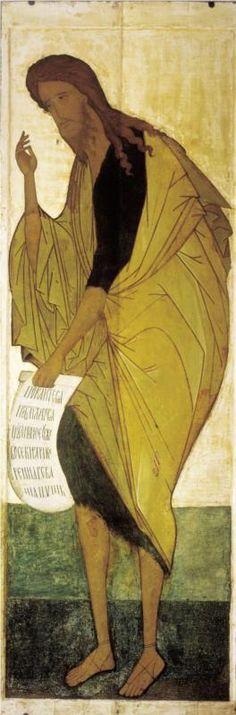 St John The Baptist Andrei Rublev 313 × 105 cm Tretyakov Gallery, Moscow, Russia Byzantine Icons, Byzantine Art, Russian Icons, Russian Art, Catholic Art, Catholic Saints, Religious Icons, Religious Art, Andrei Rublev