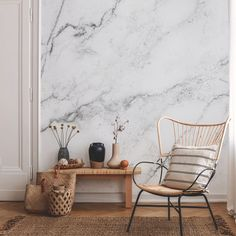 Create a stunning living room with marble wallpaper from Wallsauce.  This stunning marble wall mural will make your home stand out! We have a large selection of beautiful wall murals of your choice. Easy to order and install plus free delivery.  Click to find out more! #wallpaper #marble #marblewallpaper #homedecor Where to buy marble wallpaper. Interior Trend 2021 Marble. Black And White Marble, Living Room Trends, Beautiful Wall, All Design, Wall Murals, Color Schemes, Marble Wall, Wall Ideas