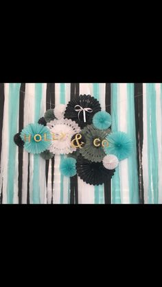 Breakfast At Tiffany's Themed Bridal Shower. Backdrop!      Tiffany blue. Black lace. Diamonds. Mimosa bar. Dessert table. Backdrops. Bridal Shower. Weddings. Maid of honor. Ideas. Brunch.