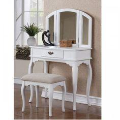 F4069 Josephine Traditional Style White Finish Vanity + Stool