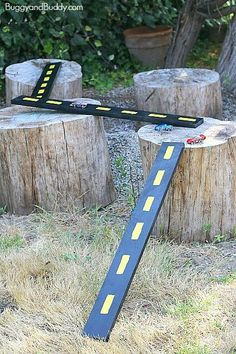 These DIY Wooden Roads & Ramps for Toy Cars are portable and fun.