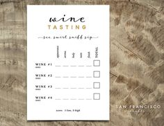 PRINTABLE Wine Tasting Scorecard - Brooke Collection - PDF Files  This printable scorecard includes a place to taste up to 4 wines. If more wines will be offered, then just print out 2 cards per person!  This listing is for a DIGITAL PDF file - INSTANT DOWNLOAD. You will receive ONE PDF file with both cards side by side on a single page. 5x7. Print as many copies as you need on cardstock and trim to size. Our designs are easy to print at home. If you do not have Adobe Acrobat Reader, you can…