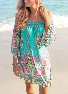 Bohemian Style Women's Off The Shoulder 3/4 Sleeve Printed Dress