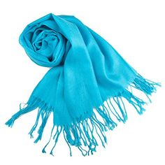 TopTie Scarf Wrap With Tassel Ends, Solid Color / Tow-Tone Color, Gift Idea TURQUOISE *** You can get more details by clicking on the image.