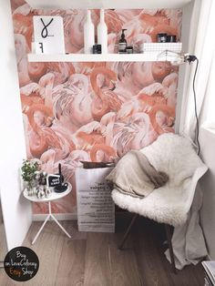Flamingo wallpaper, Tropical pink wall mural, custom Printed Removable Self Adhesive paper by coloray #45 by loveCOLORAY on Etsy https://www.etsy.com/listing/520104145/flamingo-wallpaper-tropical-pink-wall