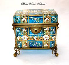 MOSER Circa 1860 Turquoise Casket Enameled with Delicate Flowers.