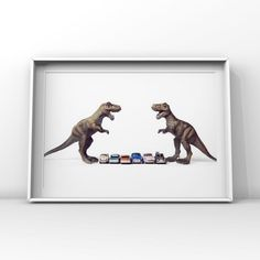 Title: Tyrannosaurus Car face off, who gets to eat the cars? Please select either photo or canvas as well as the size youd like where it says select diameter from the drop down as you place it in your cart. Pricing is also available there. PHOTOS are printed with love at a professional photo lab Dinosaur Photo, Dinosaur Art, Canvas Decor Diy, Vintage Sports Nursery, Wall Art Prints, Canvas Prints, Professional Photo Lab, Face Off, Boys Room Decor