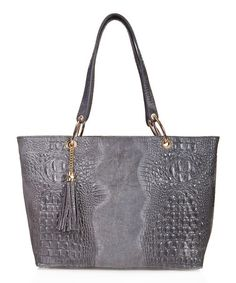 Loving this Taupe Croc-Embossed Tassel Leather Tote on #zulily! #zulilyfinds