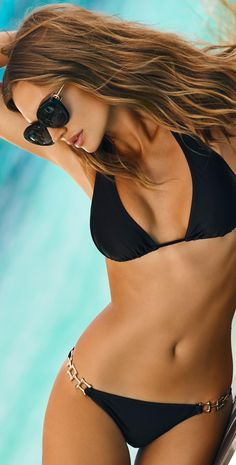 PilyQ 2015 Black Gold Halter Bikini -- 60 Great Bikinis, Swimsuits and Beachwear From The PliyQ Lookbook @styleestate