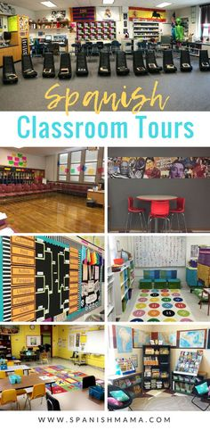 The Spanish classroom tour! Get a peek into tons of Spanish classrooms and how other teachers set up, organize, and decorate their spaces. Elementary Spanish Classroom, Spanish Classroom Decor, Teacher Classroom Decorations, Bilingual Classroom, Bilingual Education, Classroom Ideas, Classroom Organization, Space Classroom, Classroom Management