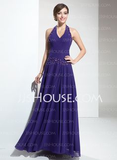 Bridesmaid Dresses - $123.99 - A-Line/Princess Halter Floor-Length Chiffon Bridesmaid Dresses With Beading (007001091) http://jjshouse.com/A-Line-Princess-Halter-Floor-Length-Chiffon-Bridesmaid-Dresses-With-Beading-007001091-g1091