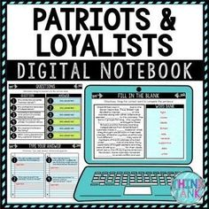 "Cure student boredom with this Patriots and Loyalists Digital Interactive Notebook – Choice Board. This is a Google Slides™ resource. Grab 8 pre-made digital graphic organizers that students type their answers into. Perfect for the teacher who is looking for engaging, no-prep resources! Perfect addition to your Revolutionary War Unit. Topics include: Patriots, Loyalists, ""Common Sense,"" Thomas Paine, Benedict Arnold, Sons of Liberty and the Declaration of Independence Social Studies Activities, History Activities, Science Activities, Classroom Activities, Dust Bowl, Google Classroom Download, Middle School History, High School, Upper Elementary Resources"