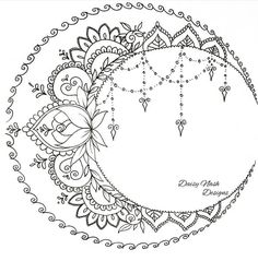 Discover recipes, home ideas, style inspiration and other ideas to try. Pattern Tattoo, Moon Tattoo, Bohemian Drawing, Drawings, Moon Tattoo Designs, Bohemian Tattoo, Tattoo Pattern, Geometric Tattoo, Coloring Pages