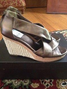 Cole Haan Air Delfina Back Zip Wedge Sandal Metallic Bronze 9.5B NIB - BUY NOW ONLY 39.99
