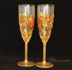 Gold wedding glasses Wedding flutes Wine glasses by FLORINAART