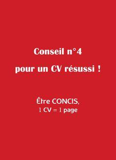 #conseil #CV #4 Votre #CV doit être concis. En un coup d'œil le recruteur doit avoir pris connaissance de votre profil (compétences, expériences, valeur ajoutée...). La règle d'or 1 CV = 1 page ! Tous nos conseils sur wwww.cookmycv.com
