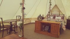 Beautiful Glamping tent, this is Blossom complete with preloved table and chairs, real double bed and loveseat