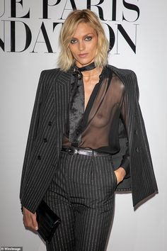 Anja Rubik goes braless beneath sheer blouse at Vogue party in Paris Lacey Lingerie, Fashion Models, Fashion Show, Anja Rubik, Sheer Blouse, Boss Lady, Catwalk, Fashion Photography, Street Style