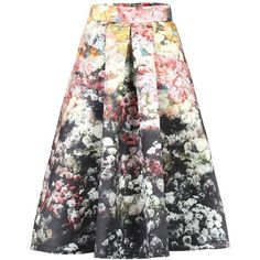 Jolie Moi Retro Floral Print A-line Midi Skirt ($51) ❤ liked on Polyvore featuring skirts, black, women, black a line skirt, knee length pleated skirt, pleated a line skirt, floral a line skirt and floral skirt