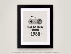 Gaming Since 19?? - 11x17 typography print by Victoria Breton of Toronto on Etsy - I love her sense of style and humor!