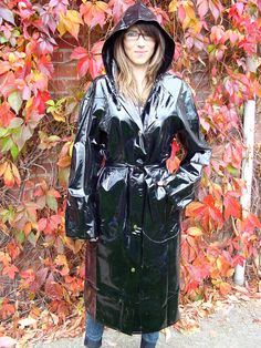 PVC RAINCOAT MAC FULL LENGTH SHINY RED & SHINY BLACK SMALL-2XL HOOD POCKETS  PA3 | Clothes, Shoes & Accessories, Women's Clothing, Coats & Jackets | eBay!