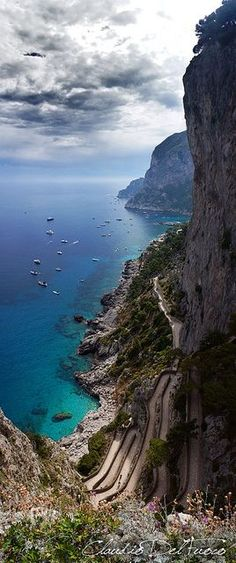 "~~The ""Via Krupp"" (switchback) ~ Isla de Capri, Campania, Italy by claudiodelfuoco~~ Dream Vacations, Vacation Spots, Family Vacations, Wonderful Places, Beautiful Places, Amazing Places, Beautiful Rocks, Places To Travel, Places To See"