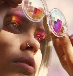 The original KALEIDOSCOPE GLASSES rave glasses: diffraction glasses: firework glasses: lady gaga glasses seen on Lady Gaga, Prince, Lena Dunham, Azealia Banks Petra Collins, Portrait Photography, Fashion Photography, Wow Art, Auras, Rave, Creepy, Grunge, Portraits