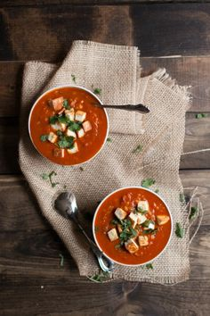 Curried Tomato and Brown Rice Soup with Fried Paneer