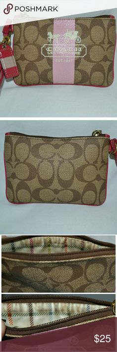 Coach leatherware wristlet Smoke free home! Bundle and save!  I ship Monday-Saturday! Daily shipping!   A Beautiful pink/ Brown/ tan leatherware Est. 1941 small coach wristlet. There is a couple of flaws, inside under the zipper these Brown stains on both sides. Other than that the exterior is in very good condition! As you Can see in  the photos. (:   Measurements: Length: 5 1/2 in  Height: 4 in Coach Bags Clutches & Wristlets
