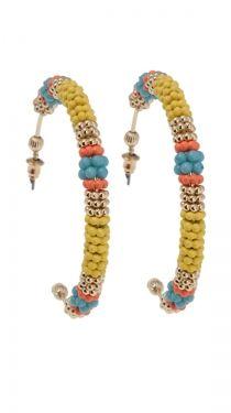 Bead Hoop Earrings - Yellow
