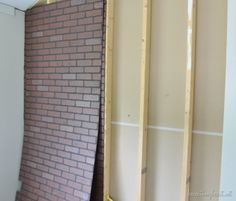 how to build industrial shelves and make a faux brick wall that looks real. Fake Brick Wall, Brick Wall Paneling, Faux Brick Panels, White Brick Walls, Paneling Painted, Paneling Sheets, Sheet Rock Walls, Built In Shelves, Pipe Shelves