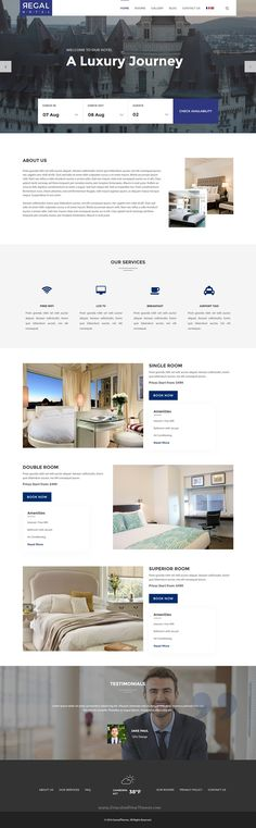 Buy Regal - Hotel Responsive Template by GomalThemes on ThemeForest. Regal – Hotel is responsive template exclusively built for hotel, hostel, private accommodation, bed and breakf. Responsive Template, Responsive Layout, Responsive Web Design, Website Layout, Web Layout, Hotel Sites, Hotel App, Best Website Templates, App Landing Page