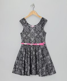 Take a look at this Black & White Crocheted Skater Dress by Dream Girl on #zulily today!