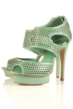 Today's So Shoe Me is the Scooter Sporty Platform Sandal, $156, by and available at Topshop. With sports minded mesh/perforated styles being seen all over the SS12 runway (I especially loved the separates at Alexander Wang) it's a safe bet to place your money on these mint green heels from Topshop.