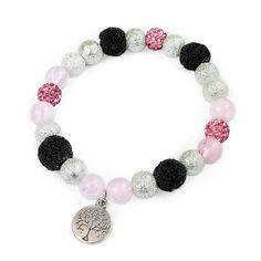 Náramek z růženínu, černých lávových kamenů, stříbrných voskovaných perel a růžových shamballa korálků s přívěškem stromu života. Diy And Crafts, Confidence, Beaded Bracelets, Love, Beads, Jewelry, Amor, Beading, Jewlery