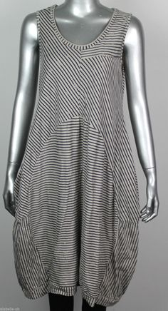 Ladies Italian Striped Lagenlook Quirky 2 Pockets Sleeveles Tunic Dress Top in…