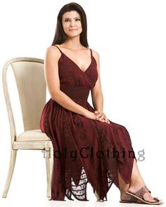 Shop Pixie Georgette Inlay Elastic Waist Dress In Burgundy Wine: http://holyclothing.com/index.php/pixie-boho-georgette-inlay-elastic-waist-zigzag-hem-sun-dress.html From $54.99. Repins are always appreciated :) #holyclothing #fashion