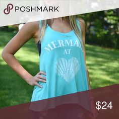 << Mermaid at Heart Mint Tank Top >> Show your love for mermaids! This cute little tank is perfect for when you're at the beach or any day around town! Loose and flowy fit. Perfect for a cute little bralette to peep out. Armpit to armpit measurements: Small - 19.5 inches Medium - 21 inches Large - 22.5 inches  *note this is a loose fitting tank with drop sleeves Boutique Tops Tank Tops