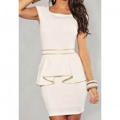 Women's Polyester Solid Color Bordered Flounces Beam Waist Packet Buttock Stylish Peplum Dress, WHITE, ONE SIZE in Club Dresses | DressLily.com
