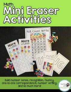 These LOW PREP activities are designed to enhance learning just by adding fun mini erasers or any other small manipulatives along with some dice.  The activities are engaging, hands on, easy to differentiate, and practice a range of important skills!Activities Included:-Roll, Count, Write (1-10, 1-20, 1-30, 1-40, 1-50, and 1-100)-Race to 50-Spin and Count-Number Formation Practice-More or LessUse the table of contents page to search through the pages and use it as a checklist to print…