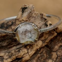 Druzy bangle bracelet with gemstone set in silver and brass bezel and prong setting Check more at