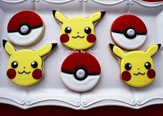 The Cookies set for a Pokemon Themed Party, Pokemon Birthday, Cookies For Kids, Fun Cookies, Decorated Cookies, Iced Cookies, Royal Icing Cookies, Pokemon Cupcakes, Cartoon Cookie