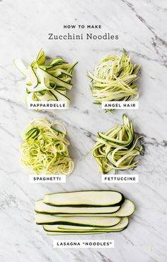 Learn how to make zucchini noodles in 5 fun shapes! Healthy & easy, this zucchini noodles recipe is a great way to lighten up pasta salad, lasagna & more. Cook Zucchini Noodles, Zucchini Carbonara, Zucchini Noodle Recipes, How To Cook Zucchini, Veggie Noodles, Recipe Zucchini, Chicken Zucchini, Zoodle Recipes, Spaghetti With Zucchini Noodles