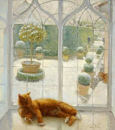 Cat in the window painting. Timothy Easton - Contentment