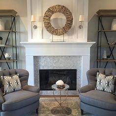 No Monday blues here! Little by little I'm zooming out on this entire room. These Restoration Hardware bookshelves and Pottery Barn chairs might be my favorite things (who am I kidding I can't choose!) Have a great day everyone! #aneyeforpretty #interiors #design #decor #decorating #laquestaremodel #livingroom #potterybarn #mypotterybarn #restorationhardware #love