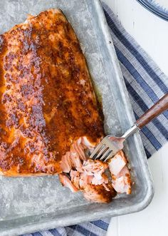 Baked Salmon with Maple Mustard Glaze ingredient This easy five ingredient baked salmon is going to be your weeknight go-to salmon recipe. The glaze is the perfect balance of spicy and sweet. Try it tonight! Oven Baked Salmon, Baked Salmon Recipes, Fish Recipes, Seafood Recipes, Gourmet Recipes, Cooking Recipes, Healthy Recipes, Healthy Meals, Yummy Recipes